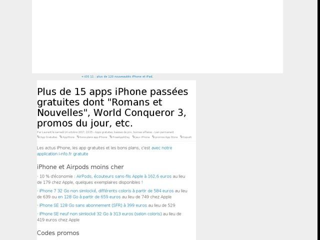 """Plus de 15 apps iPhone passées gratuites dont """"Romans et Nouvelles"""", World Conqueror 3, promos du jour, etc."""