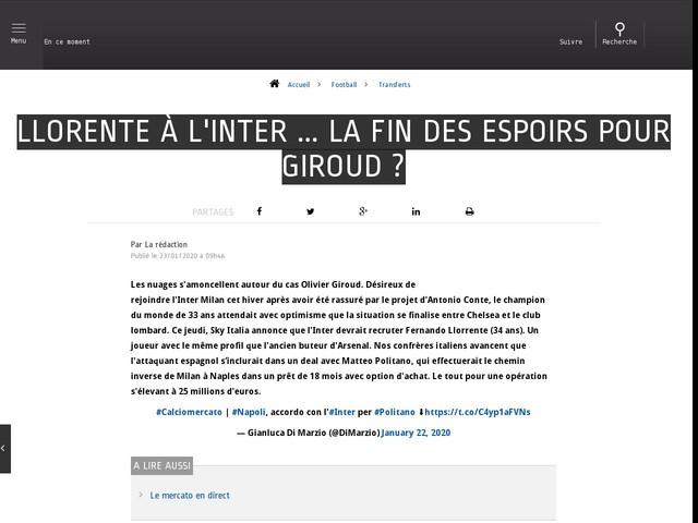 Football - Transferts - Llorente à l'Inter ... la fin des espoirs pour Giroud ?