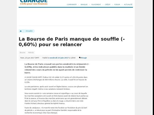 La Bourse de Paris manque de souffle (-0,60%) pour se relancer