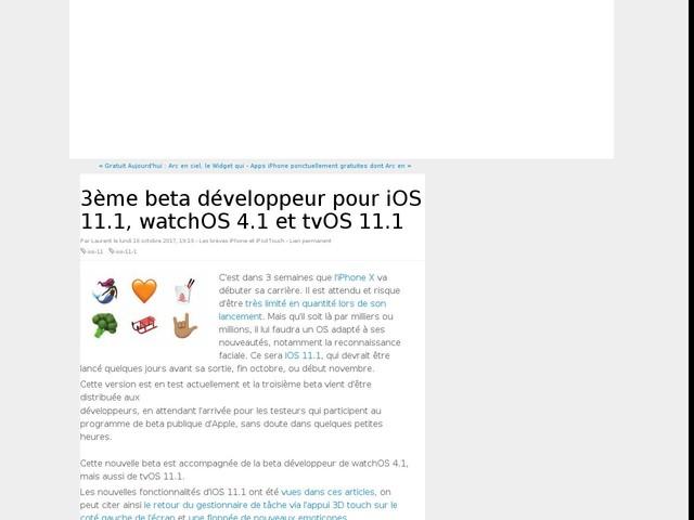 3ème beta développeur pour iOS 11.1, watchOS 4.1 et tvOS 11.1