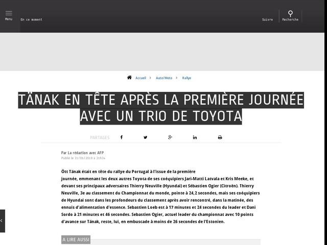 Auto/Moto - Tänak en tête après la première journée avec un trio de Toyota