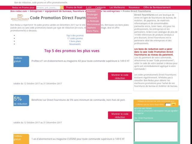code promotion Direct Fournitures : reduction de 50 Eur pour 299 Eur jusqu'au 15/12/2017 - promo 2131415