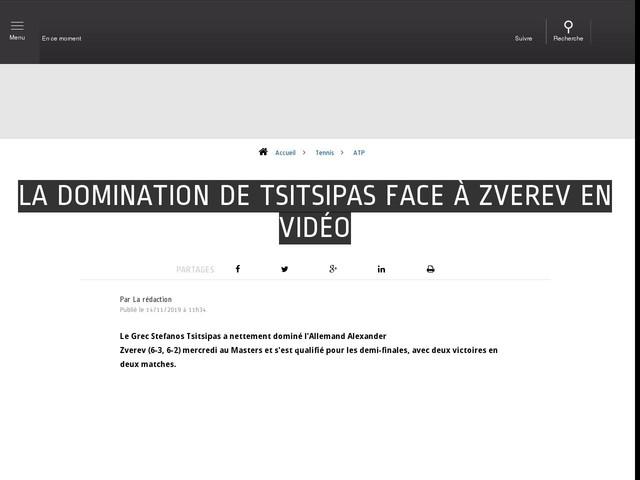 Tennis - ATP - La domination de Tsitsipas face à Zverev en vidéo