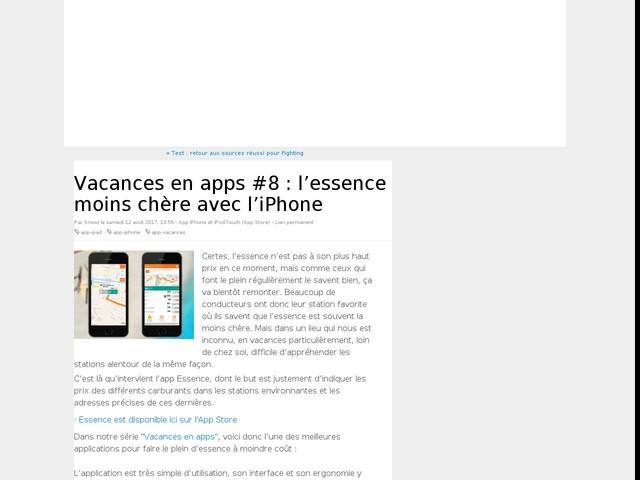 Vacances en apps #8 : l'essence moins chère avec l'iPhone