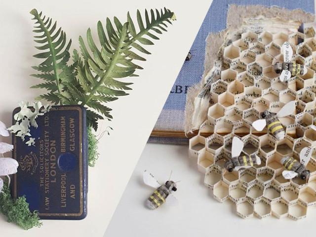 Kate réalise de magnifiques sculptures végétales à partir de simples feuilles de papier