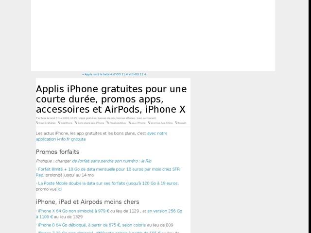 Applis iPhone gratuites pour une courte durée, promos apps, accessoires et AirPods, iPhone X
