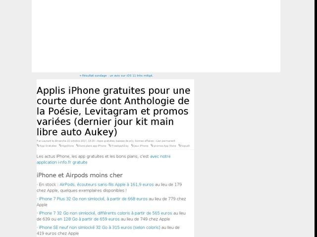 Applis iPhone gratuites pour une courte durée dont Anthologie de la Poésie, Levitagram et promos variées (dernier jour kit main libre auto Aukey)