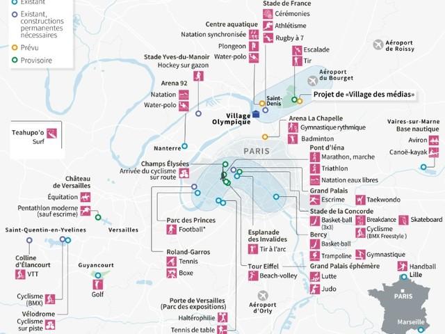 JO-2024: quatre sites en moins, la carte pratiquement définitive