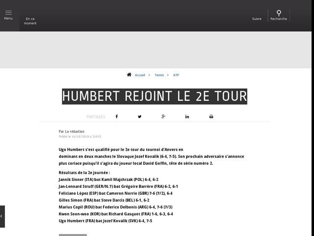 Tennis - ATP - Humbert rejoint le 2e tour
