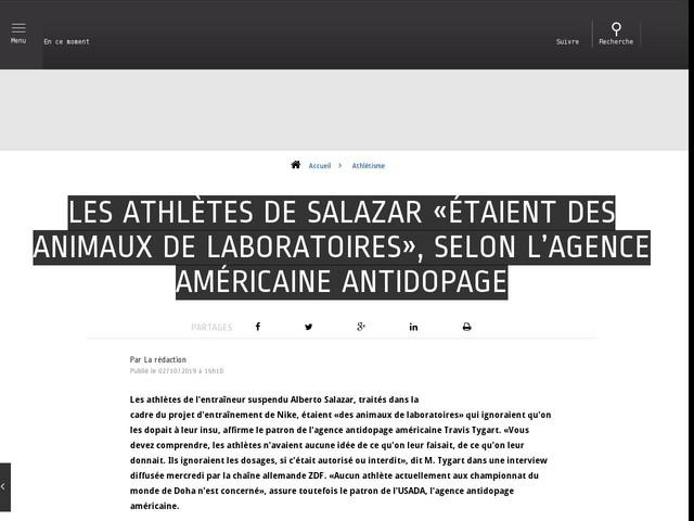 Athlétisme - Les athlètes de Salazar «étaient des animaux de laboratoires», selon l'Agence américaine antidopage