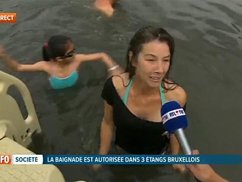 """Des étangs de Bruxelles sont des zones de baignade cet été: """"J'ai les pieds dans la boue mais c'est sympa"""""""