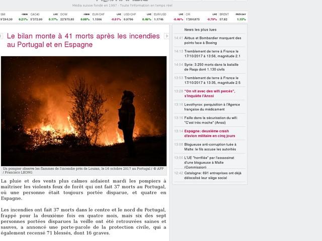 Le bilan monte à 41 morts après les incendies au Portugal et en Espagne