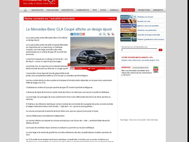 Le Mercedes-Benz CLA Coupé affiche un design épuré