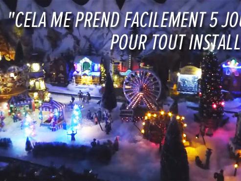 """Découvrez la passion de Nelly, décorer son immense village de Noël: """"Il y a plusieurs maisons, des moulins, une église, des petits chanteurs, des carrousels qui font de la musique..."""""""