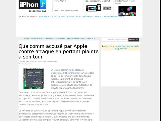 Qualcomm accusé par Apple contre attaque en portant plainte à son tour