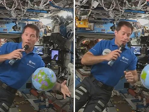 """L'astronaute Thomas Pesquet, ballon à la main, s'exprime en direct depuis l'espace: """"Le décollage, c'était une sensation incroyable"""" (vidéo)"""
