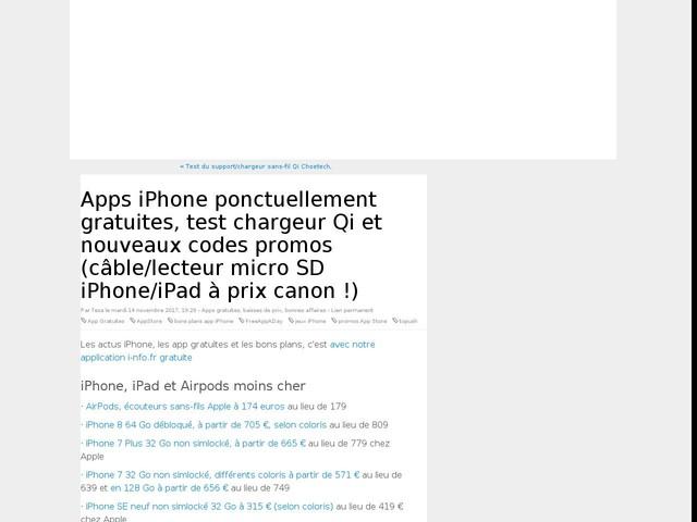Apps iPhone ponctuellement gratuites, test chargeur Qi et nouveaux codes promos (câble/lecteur micro SD iPhone/iPad à prix canon !)