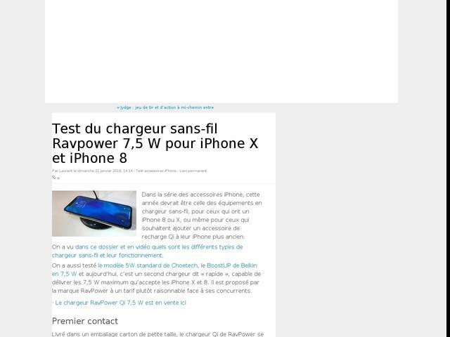 Test du chargeur sans-fil Ravpower 7,5 W pour iPhone X et iPhone 8