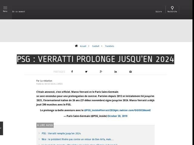 Football - Transferts - PSG : Verratti prolonge jusqu'en 2024