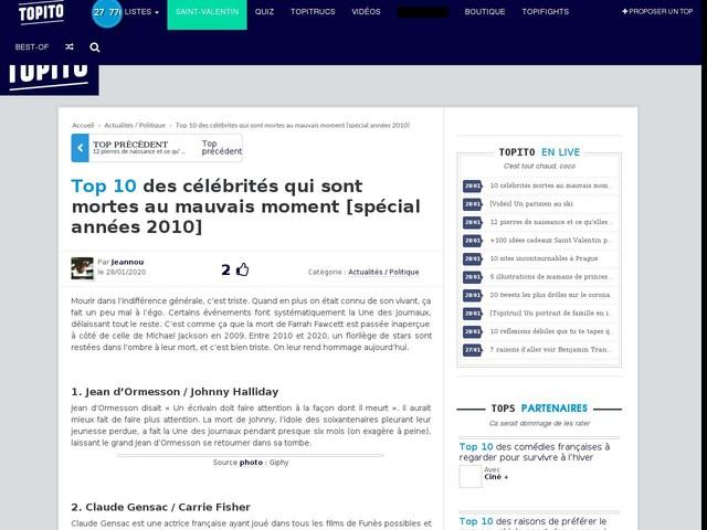 Top 10 des célébrités qui sont mortes au mauvais moment [spécial années 2010]