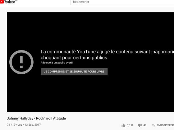 """Le clip """"Rock'n'Roll attitude"""" de Johnny Hallyday censuré sur Youtube"""