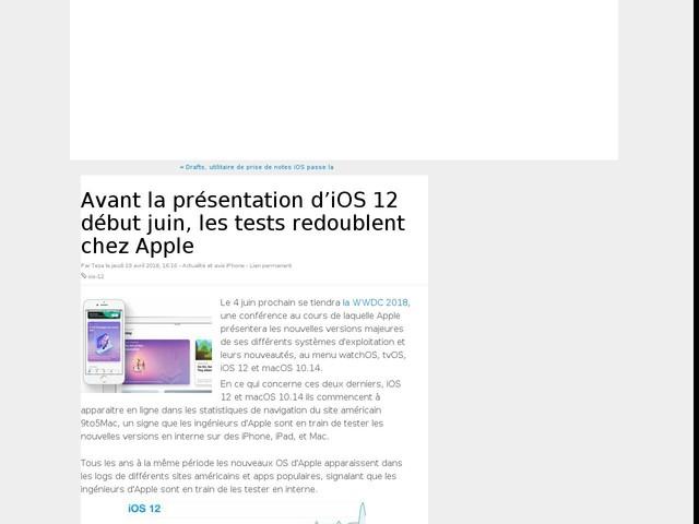 Avant la présentation d'iOS 12 début juin, les tests redoublent chez Apple