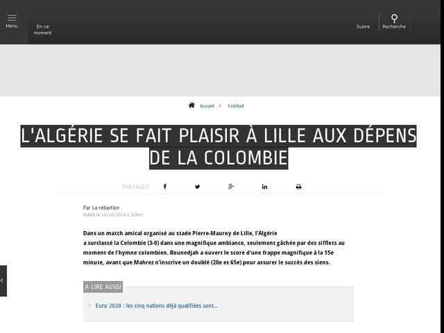 Football - L'Algérie se fait plaisir à Lille aux dépens de la Colombie