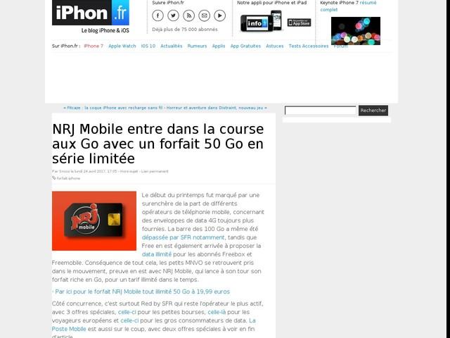 NRJ Mobile entre dans la course aux Go avec un forfait 50 Go en série limitée