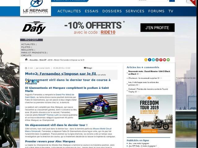 Moto2: Fernandez s'impose sur le fil