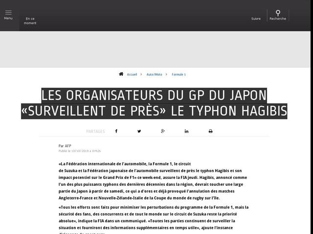 Auto/Moto - Les organisateurs du GP du Japon «surveillent de près» le typhon Hagibis