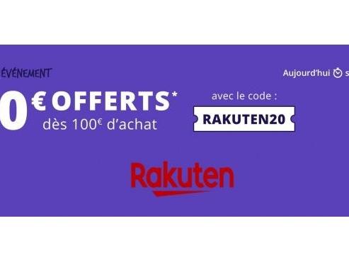 Réduction de 20€ dès 100€ d'achat sur tout RAKUTEN