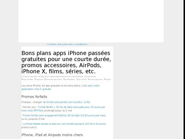 Bons plans apps iPhone passées gratuites pour une courte durée, promos accessoires, AirPods, iPhone X, films, séries, etc.