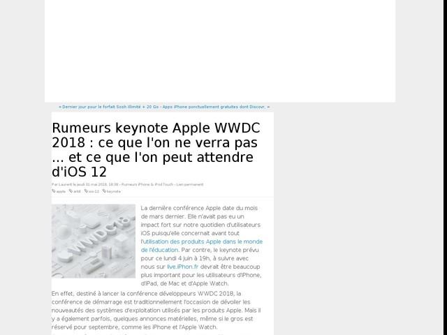 Rumeurs keynote Apple WWDC 2018 : ce que l'on ne verra pas ... et ce que l'on peut attendre d'iOS 12