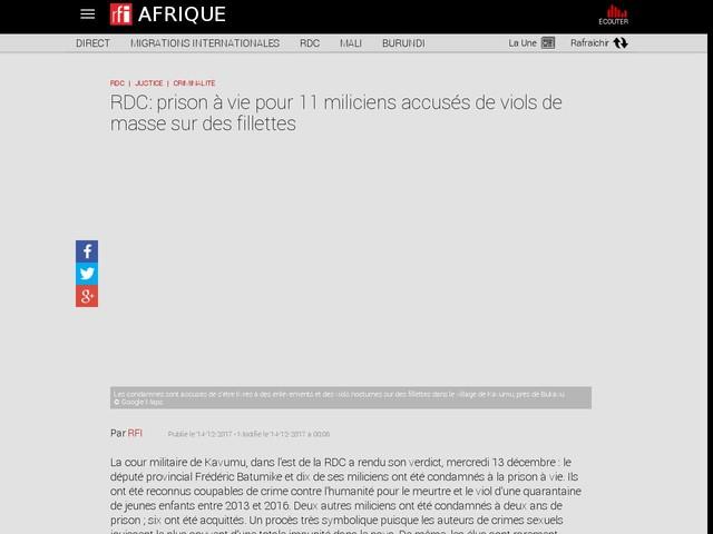 RDC: prison à vie pour 11 miliciens accusés de viols de masse sur des fillettes