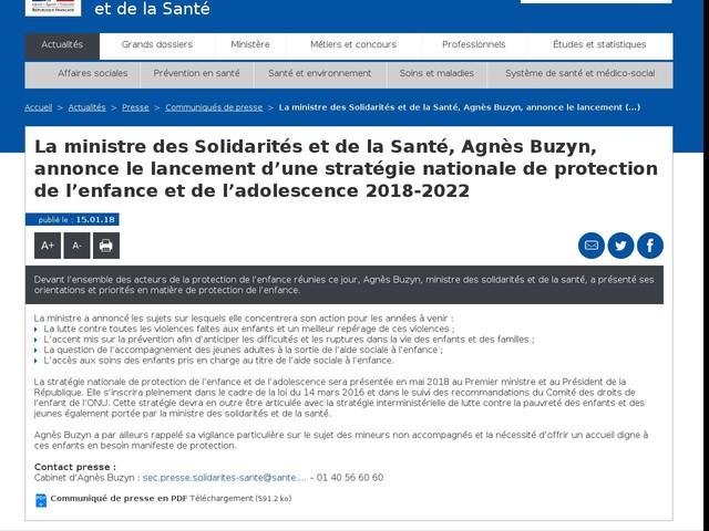 La ministre des Solidarités et de la Santé, Agnès Buzyn, annonce le lancement d'une stratégie nationale de protection de l'enfance et de l'adolescence 2018-2022