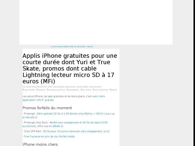 Applis iPhone gratuites pour une courte durée dont Yuri et True Skate, promos dont cable Lightning lecteur micro SD à 17 euros (MFi)