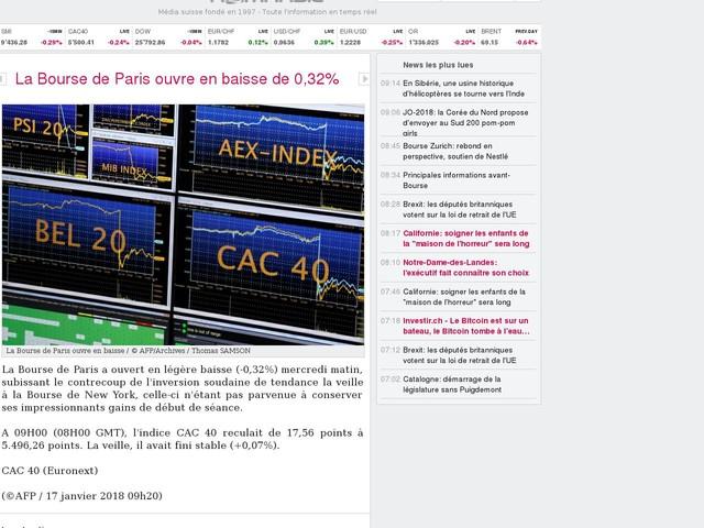La Bourse de Paris ouvre en baisse de 0,32%