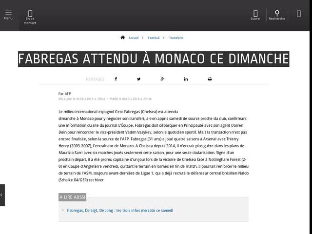 Football - Transferts - Fabregas attendu à Monaco ce dimanche