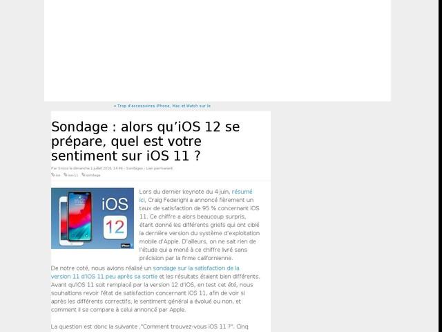 Sondage : alors qu'iOS 12 se prépare, quel est votre sentiment sur iOS 11 ?
