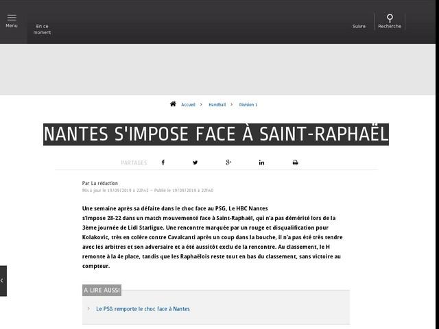 Handball - Division 1 - Nantes s'impose face à Saint-Raphaël
