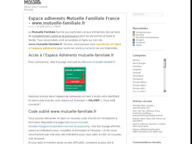 www.mutuelle-familiale.fr Espace adherents Mutuelle Familiale France
