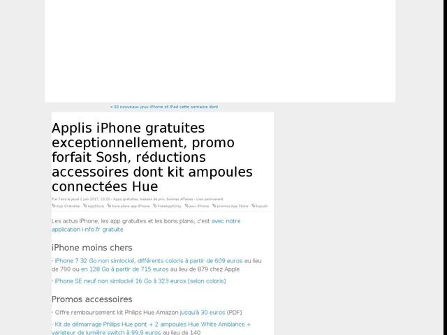 Applis iPhone gratuites exceptionnellement, promo forfait Sosh, réductions accessoires dont kit ampoules connectées Hue