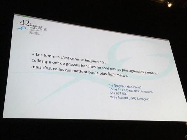 """Au congrès des gynécologues, une diapositive compare les femmes """"à des juments"""""""