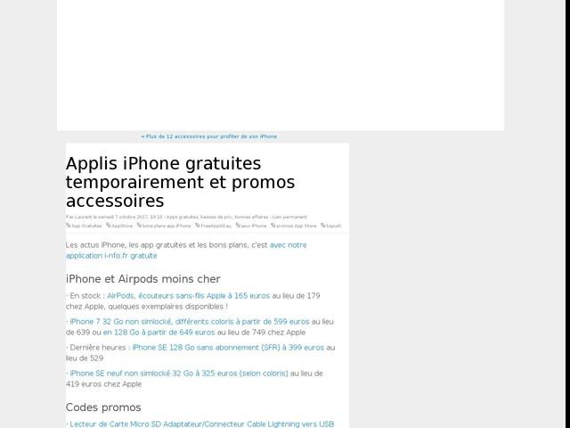 Applis iPhone gratuites temporairement et promos accessoires