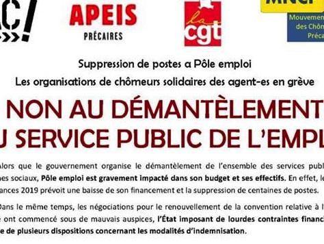 Non au démantèlement du service public de l'emploi - Grève du 20 novembre