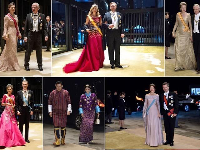 Reines et princesses rivalisent d'élégance au banquet de Naruhito et Masako