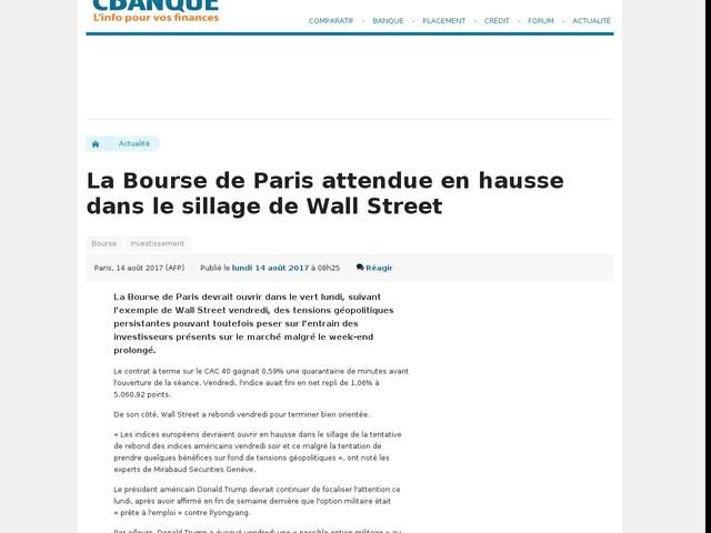 La Bourse de Paris attendue en hausse dans le sillage de Wall Street