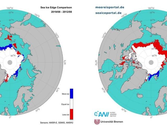 Faible couverture de glace de mer dans l'Arctique en septembre. Par Johan Lorck