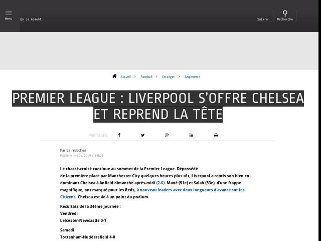 Football - Etranger - Premier League : Liverpool s'offre Chelsea et reprend la tête