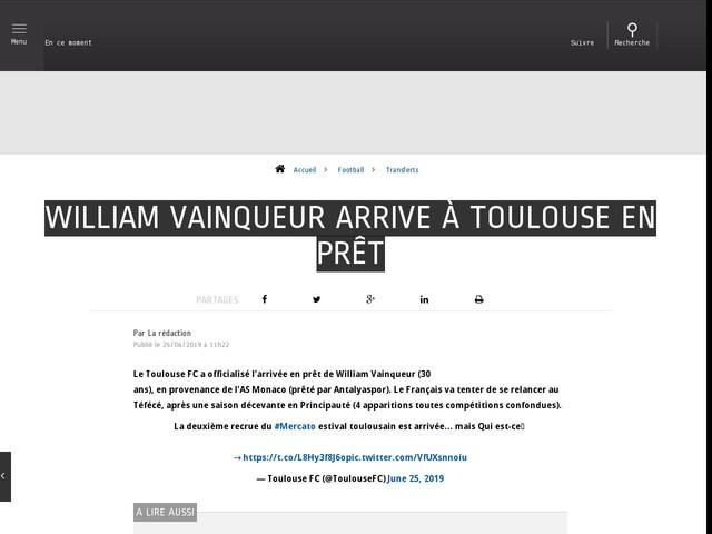 Football - Transferts - William Vainqueur arrive à Toulouse en prêt